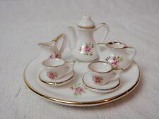 Miniature Doll House Tea Set White Pink Roses Gold Trim Pot Tray Tea for 2 Retro