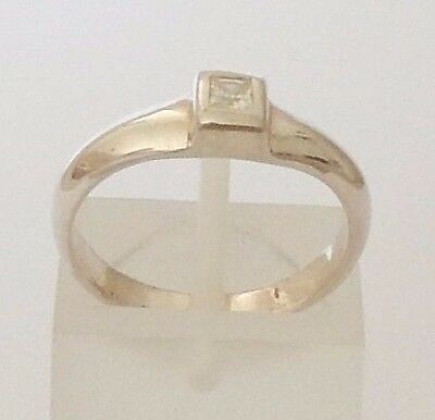 925 Sterling Silver Square White Cubic Zircon Ring Size L,o1/2