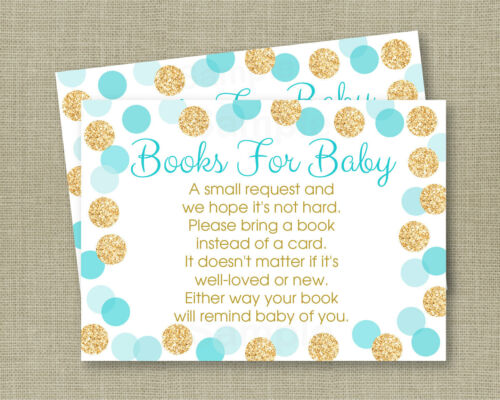 Blue /& Gold Glitter Dots Printable Baby Shower Book Request Cards