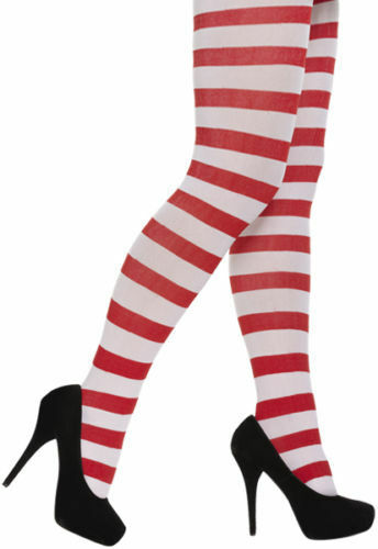 Teen Ladies Red and White Stripy Elf Xmas Christmas Tights Fancy Dress Costume