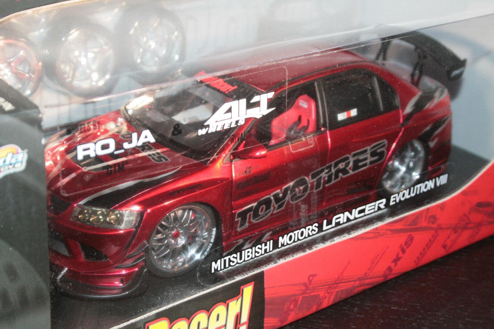Importación Racer sintonizadores 1 18 Mitsubishi Lancer Evolution VIII, Jada Toys 2004 Nuevo (sellado)