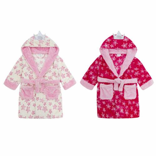 MiniKidz Childrens Kids Girls Fairy Princess Dressing Gown Hooded Fleece Robe