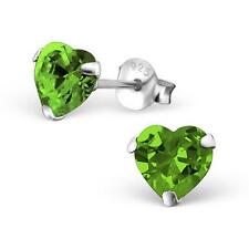 Sterling Silver Peridot Heart Stud Earrings - 6 mm - Gift Boxed - NEW