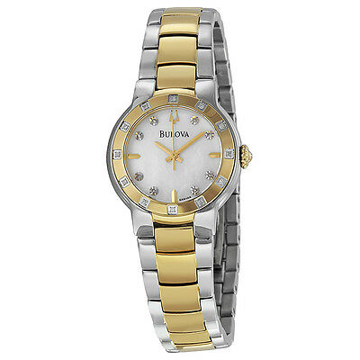 Bulova Mother of Pearl Diamond Two Tone Stainless Steel Ladies Watch 98R168