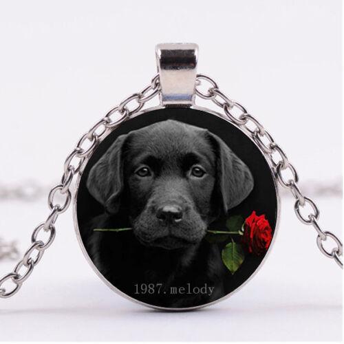 Photo Cabochon Silver Populaire Pendentifs Verre Collier ( chien noir et rose