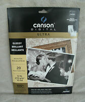 Canson Ultra Gloss Digital Imaging Paper For Inkjet Printers 20 Sheets 8.5 X 11