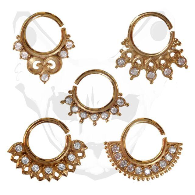 Indian Tribal Septum Ring Gem Brass Clicker CZ Nose Piercing Tragus Crystal