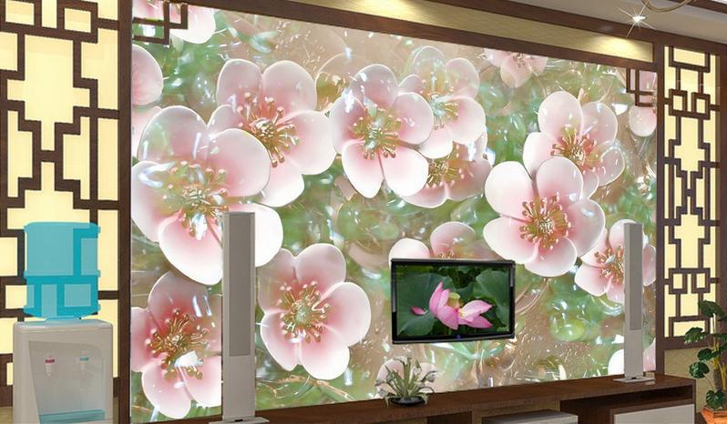 3D Pfirsichblütenblatt 843 Tapete Wandgemälde Tapete Tapeten Bild Familie DE