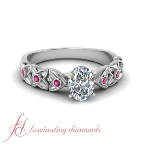 .65 Ct Oval Shaped Diamond And Pink Sapphire Bezel Set Handmade Engagement Rings