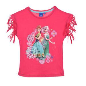 DISNEY-t-shirt-LA-REINE-DES-NEIGES-4-5-6-ou-8-ans-rose-franges-epaules-NEUF