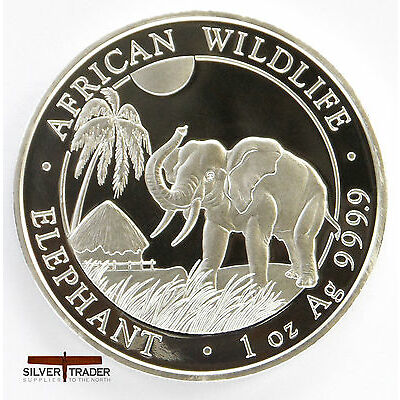 The 2017 Somalian Elephant unc: 1 oz Troy ounce Fine Silver Coin Bullion