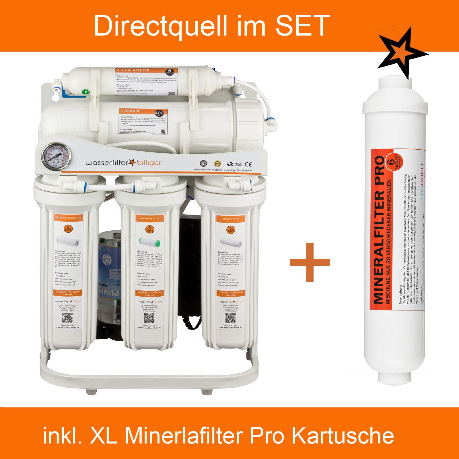 Directquell Umkehrosmose Wasserfilter mit XL Mineralkartusche. Kein Tank nötig