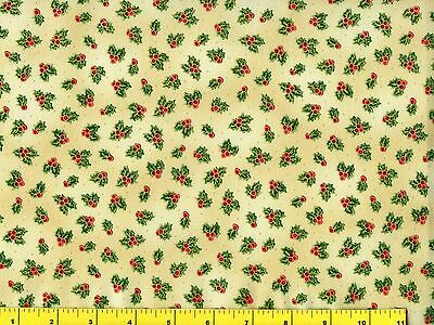 Gold Accented Small Holly w// Red Berries Christmas Quilting Fabric by Yard #3166