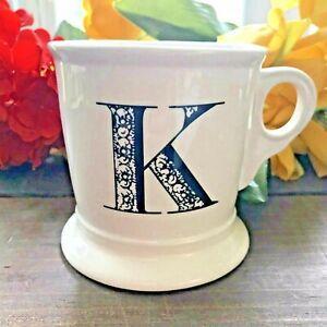Anthropologie Monogram Letter 'K' Mug Alphabet Initial Shaving Style Cup-Retired