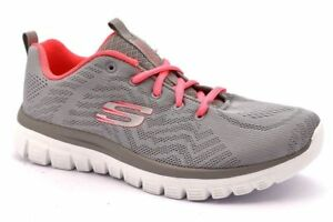 Sumamente elegante tubo Completo  Women's Skechers Graceful Get Connected Gray Coral 12615/GYCL with Memory  Foam | eBay