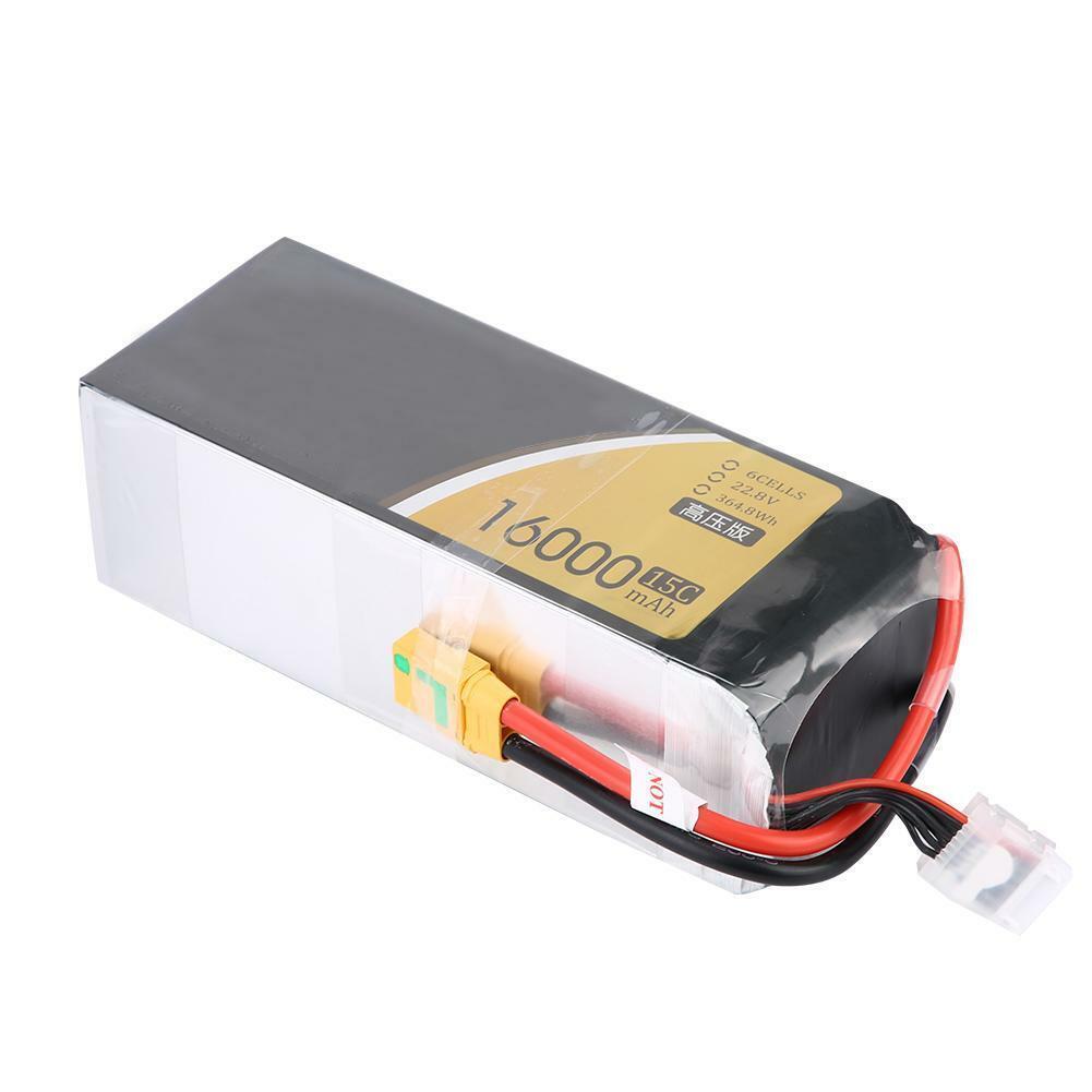 Tattu 22.2V 6S 16000mAh Batería Lipo 15C + XT90U-F-SYP Enchufe para DJI RC Drone