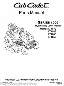 s l300 cub cadet lt1042 lt1045 lt1046 lt1050 parts manual ebay cub cadet parts diagrams at soozxer.org