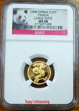 1996 1/10oz Panda gold coin large date NGC MS68