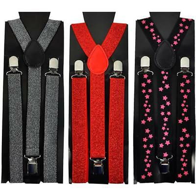 ADJUSTABLE SLIM UNISEX TROUSER BRACES SUSPENDERS FANCY DRESS CLIP ON FREE UK P/&P