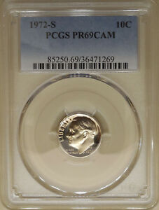 1972-S-PCGS-PR-69-CAM-proof-Roosevelt-dime-superb-gem-proof-cameo