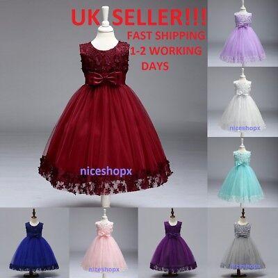 Girls Flower//Bridesmaid//Party//Princess//Prom//Wedding//Christening//COMMUNION Dress