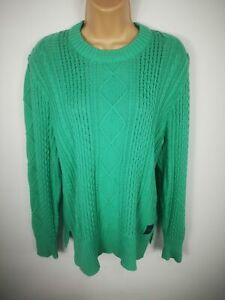 WOMENS-SUPERDRY-MINT-GREEN-CABLE-KNITTED-JUMPER-SWEATER-PULL-OVER-SIZE-L-LARGE
