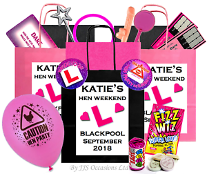 HEN PARTY BAG and 10 Items PRE FILLED Personalised Choose Design Bride Gift Idea