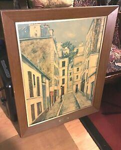 "Vintage Framed & Signed Lithographed Copy Of "" Limpasse Cottin/ Maurice Utrilllo"