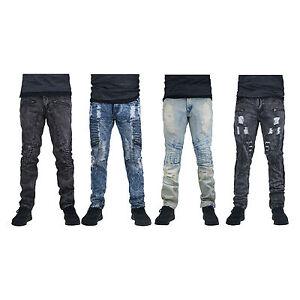 MENS-JEANS-DENIM-ZIPPER-Designed-SLIM-Fit-Biker-Distressed-PANTS-ripped-jeans