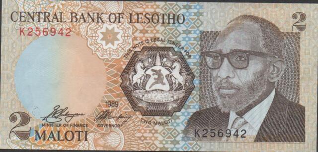 Lesotho 2 Maloti 1989 Prefix K  Circulated Banknote