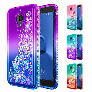 Details about For Alcatel Avalon V / TCL LX A502DL | Liquid Glitter Bling  Phone Cover Case