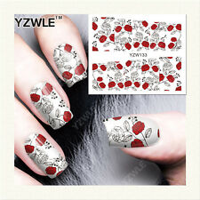 Valentines Nail Art Water Decals Stickers Black Red Love Roses Gel Polish (133)