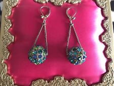 Betsey Johnson Blue Lagoon GORGEOUS Blue Green Teal Crystal Paved Ball Earrings