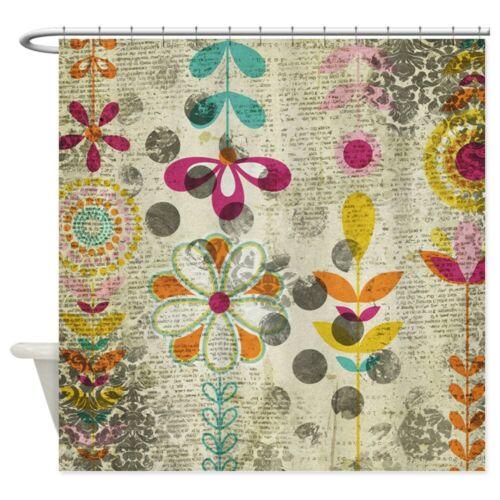 943041642 CafePress Bohemian Boho Flowers Shower Curtain