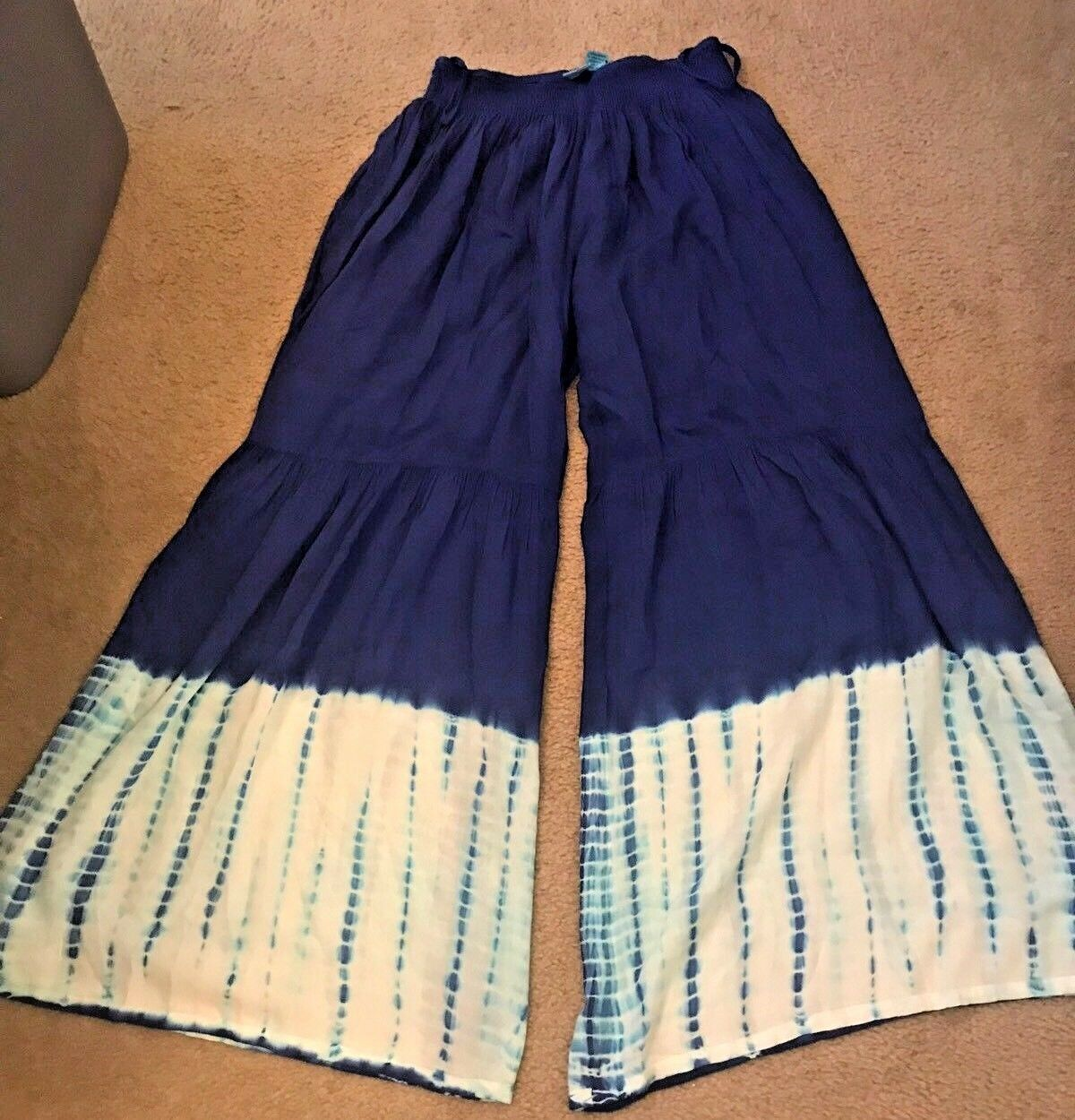 New INDIAN TROPICAL Tie Dye Pants bluee White Beach Festival Flare Bell Leg Sz M