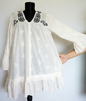 Odd Molly #856A Cream Tunic/Dress with Floral Embroidery, Size:2