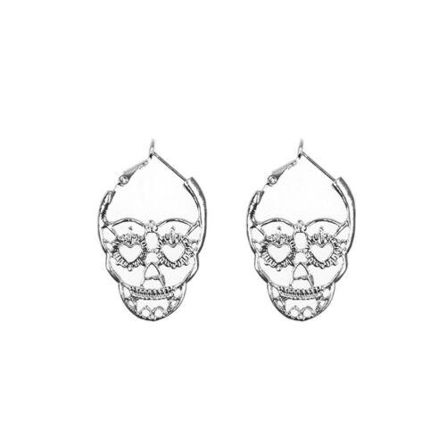 Cool Unisex Punk Alloy Retro Hollow Skull Shape Hoop Earrings Ear Studs Jewelry