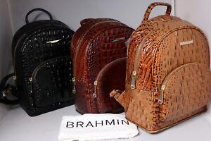 bfcc821f4675de Image is loading Brahmin-Melbourne-Mini-Dartmouth-Backpack -Pecan-Black-Toasted-