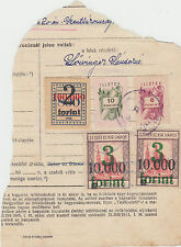 c.1946 Hungary document piece with 3 x Szeged stamps