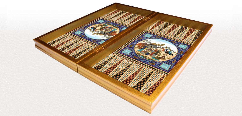 KHATAM BACKGAMMON SET Persian EXCLUSIVE Design Wooden Board 14.17