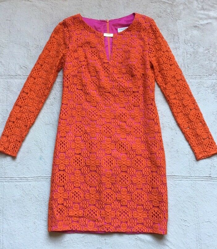 Trina Turk Dress, Größe 4, Orange w  Lace Overlay, Long Sleeves Mini, Rosa Inside