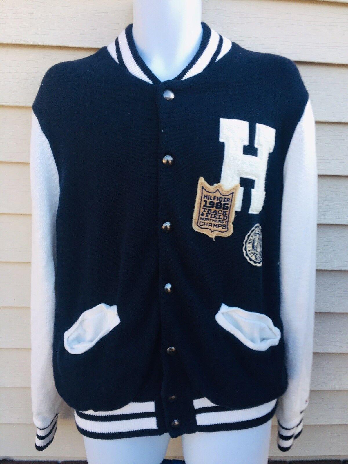 Tommy Hilfiger Navy Blau and Weiß Men Größe Large Snap Button Cardigan Sweater