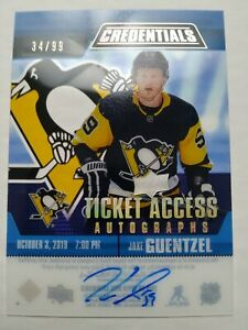 2019-20-Credentials-Acetate-Ticket-Access-Autographs-Jake-Guentzel-Auto-34-99-SP