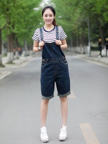 Womens Casual Loose Jean Shorts Overalls Denim Pants Jumpsuits Toursers Big Size