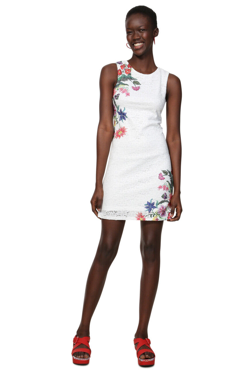 Desigual schwarz Weiß Kristal Dentelle Imprimé Floral Shift Dress 34-46 UK 6-18
