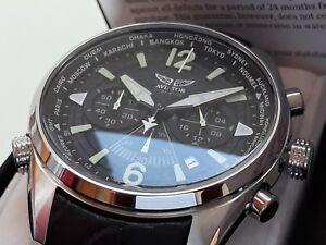 Orologio-Cronografo-WorldTime-AVIATOR-F-SERIES-Uomo-Men-039-s-Chrono-Aviatore-NUOVO