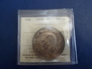 Canada Silver Dollar 1939 Graded by ICCS