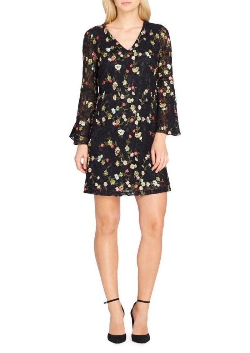 Tahari Floral Embroiderot Bell Sleeve schwarz Sz 6P Dress New