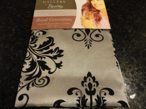 new Kathy Ireland Flocked black medallions Silver gray Fabric SHOWER CURTAIN