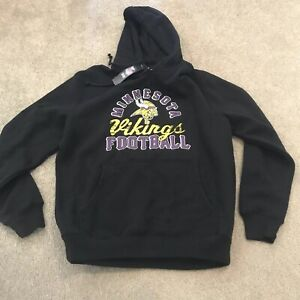 new styles 49887 05b84 Details about Minnesota Vikings Majestic NFL Black Pullover Hoodie Men's  Size Medium